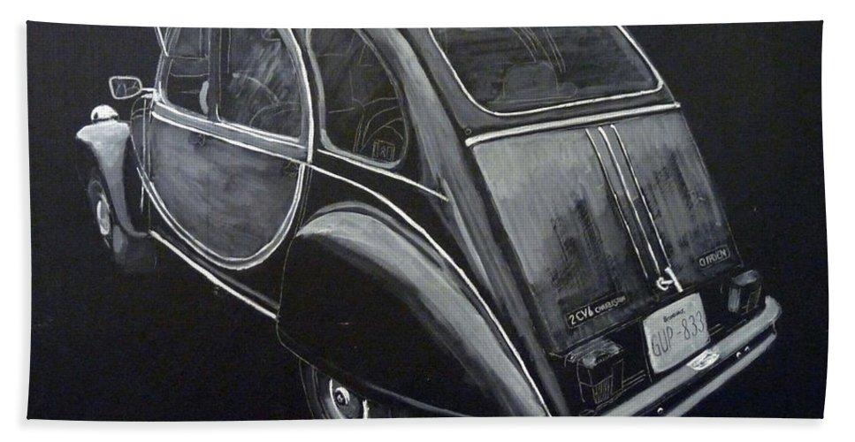 Citroen 2cv Charleston Bath Sheet featuring the painting Citroen 2cv Charleston by Richard Le Page