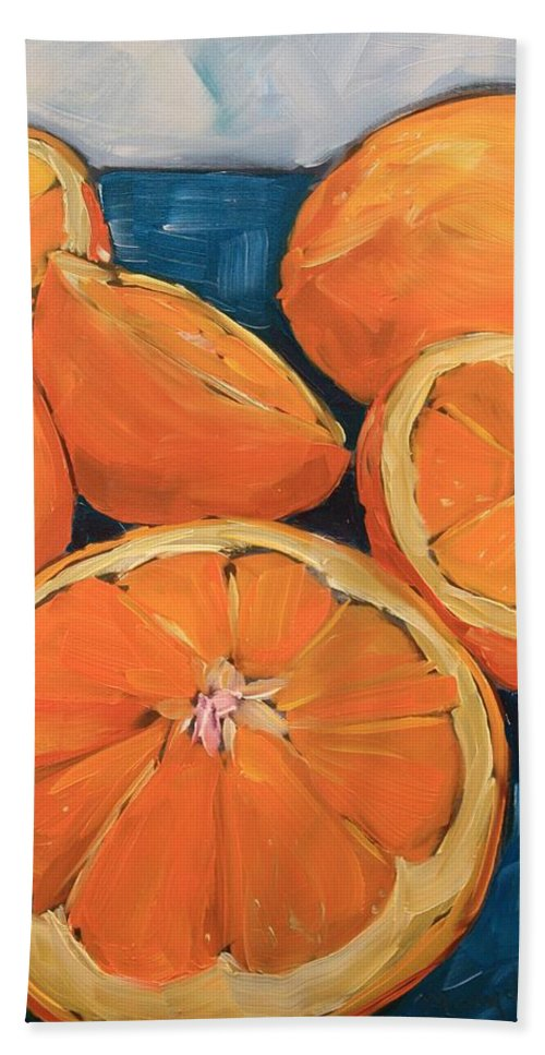 Orange Hand Towel featuring the painting Citrus Special by Mary Beth Harrison