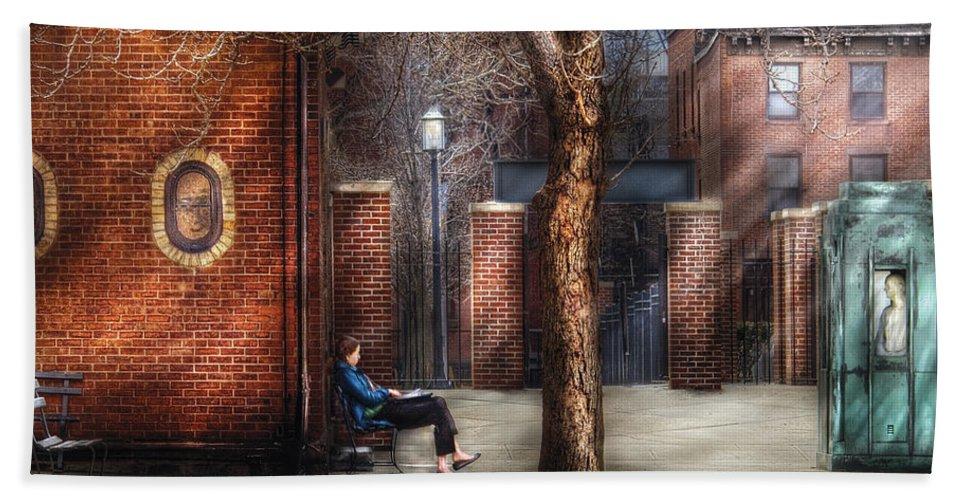 Savad Bath Sheet featuring the photograph City - Newark Nj - Always Waiting by Mike Savad