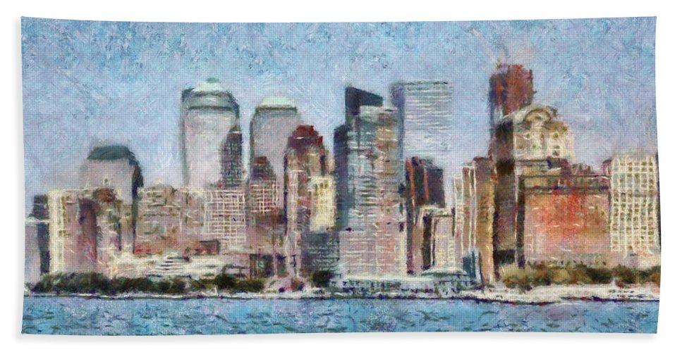 Savad Bath Sheet featuring the photograph City - Ny - Manhattan by Mike Savad