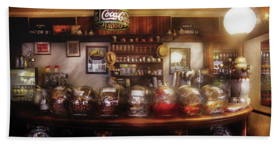 Savad Bath Sheet featuring the photograph City - Ny 77 Water Street - The Candy Store by Mike Savad