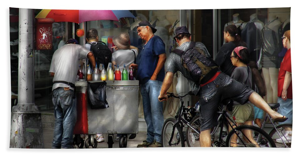 Savad Bath Sheet featuring the photograph City - Ny Delancy St - Getting A Snowcone by Mike Savad