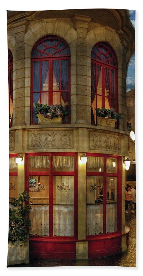 France Bath Sheet featuring the photograph City - Vegas - Paris - Le Cafe by Mike Savad