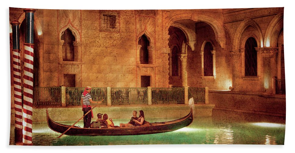 Savad Bath Sheet featuring the photograph City - Vegas - Venetian - The Gondola's Of Venice by Mike Savad