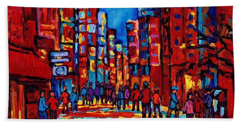 Montreal Hand Towel featuring the painting City After The Rain by Carole Spandau