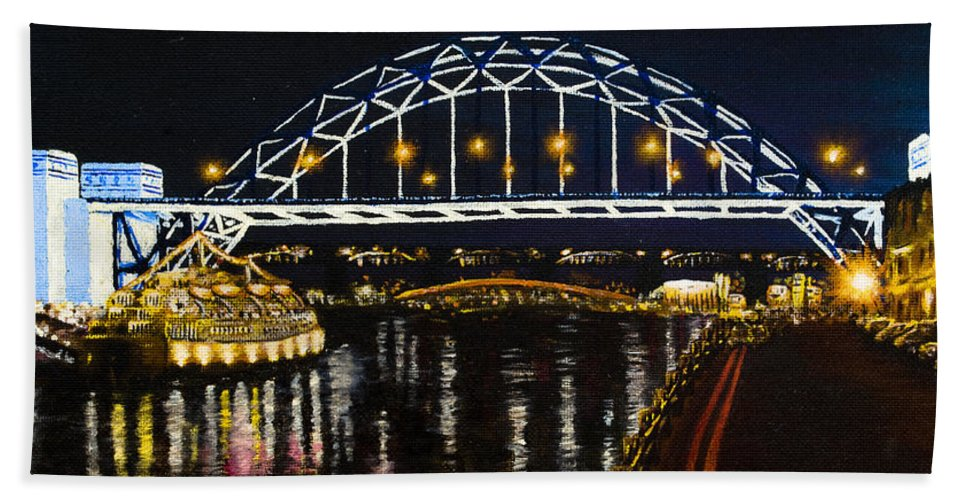 Black Hand Towel featuring the painting City At Night by Svetlana Sewell