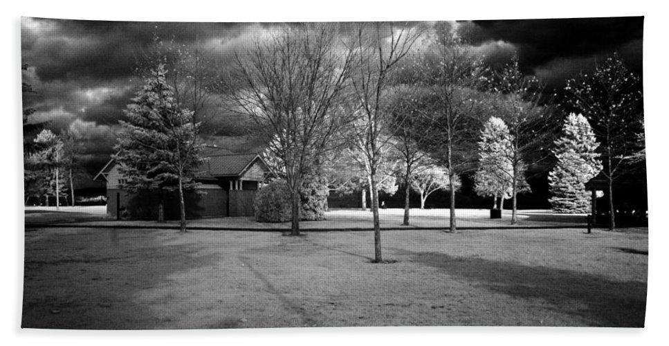 Infrared Hand Towel featuring the photograph City Beach In Infrared by Lee Santa