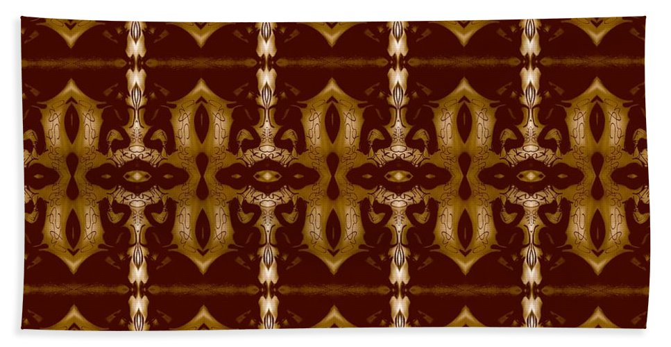 Abstract Pattern Hand Towel featuring the digital art City Brown by Elisabeth Skajem Atter