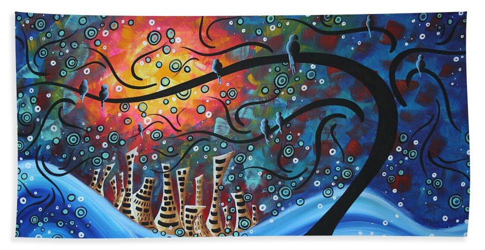 Art Bath Towel featuring the painting City By The Sea By Madart by Megan Duncanson
