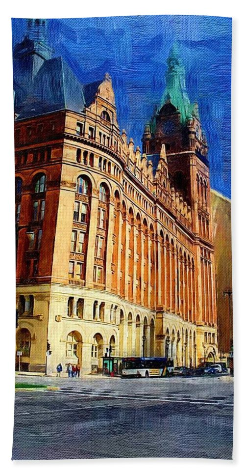 Architecture Hand Towel featuring the digital art City Hall And Lamp Post by Anita Burgermeister