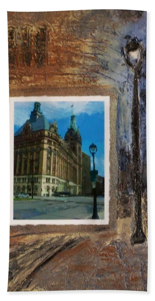 City Hall Hand Towel featuring the mixed media City Hall And Street Lamp by Anita Burgermeister