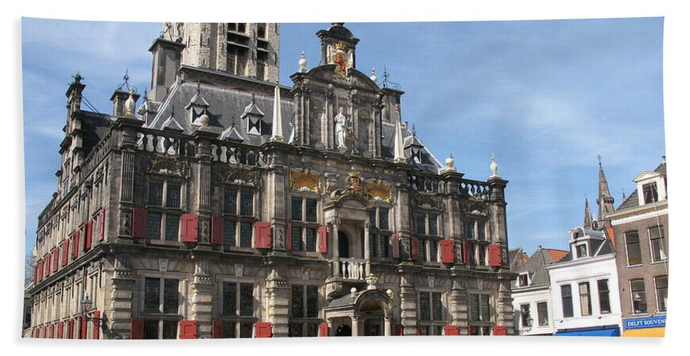 City Hall Bath Sheet featuring the photograph City Hall - Delft - Netherlands by Christiane Schulze Art And Photography