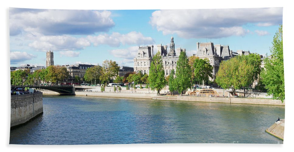 Paris Hand Towel featuring the photograph Seine River Embankment by Anastasy Yarmolovich