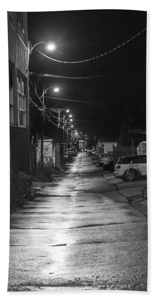 Night Bath Sheet featuring the photograph City Lane At Night by Rick Shea