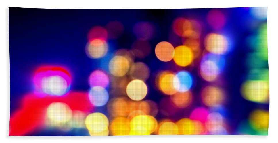 Abstract Bath Sheet featuring the photograph City Lights by Jijo George