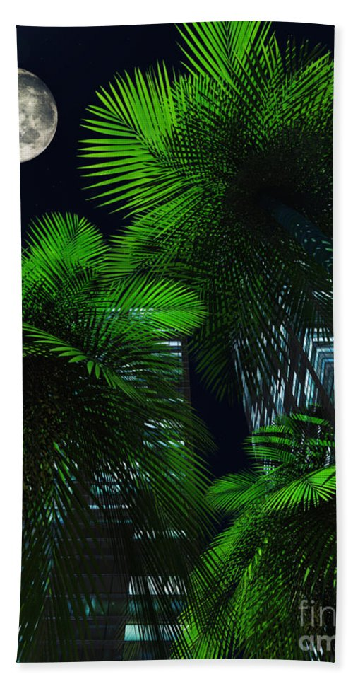 Tropics Bath Sheet featuring the digital art City Nights by Richard Rizzo