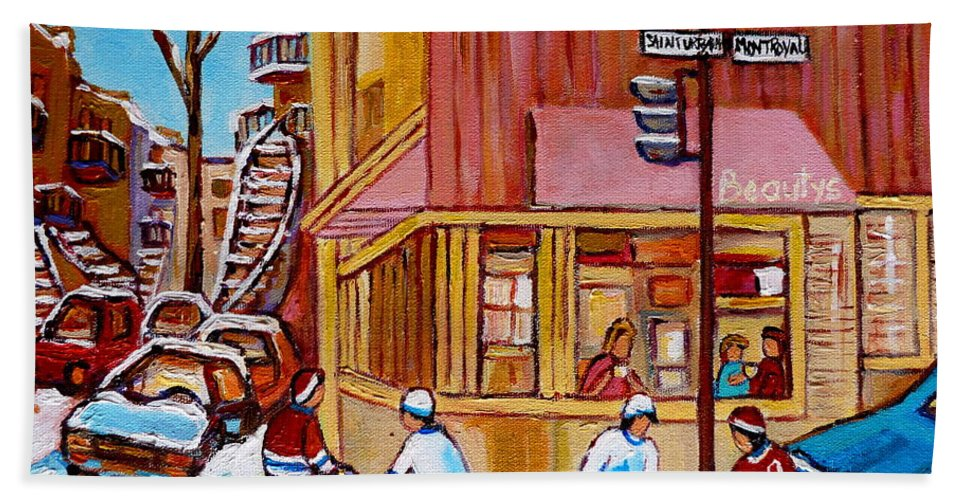 Montreal Bath Towel featuring the painting City Of Montreal St. Urbain And Mont Royal Beautys With Hockey by Carole Spandau