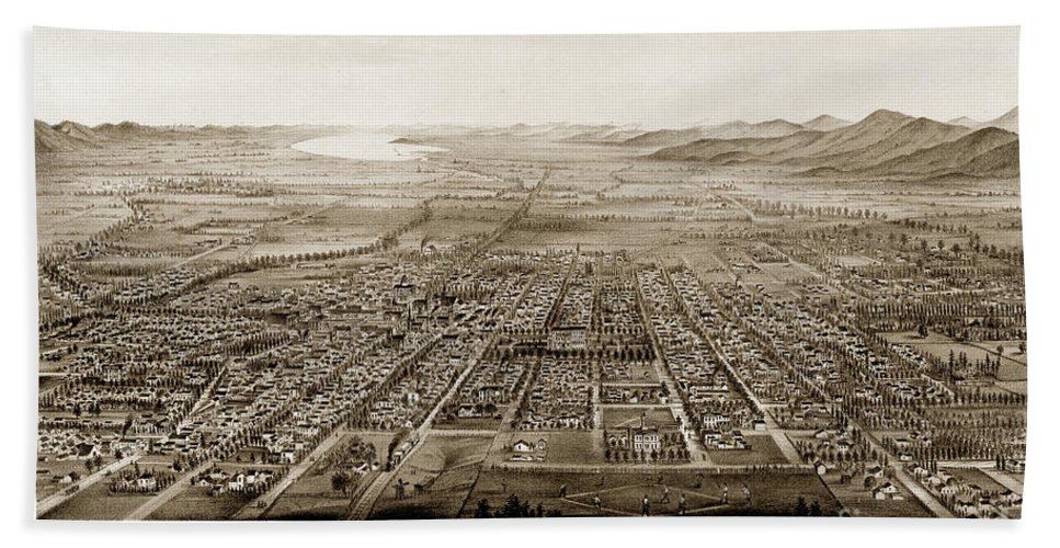 City Of San Jose 1875 Hand Towel featuring the photograph City Of San Jose County Of Santa Clara 1875 by California Views Archives Mr Pat Hathaway Archives