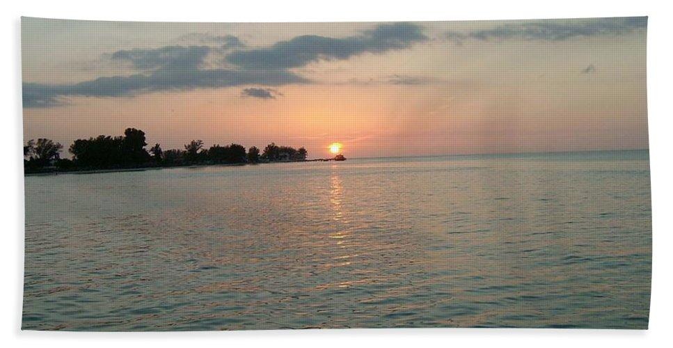 Sunset Bath Sheet featuring the photograph City Pier Holmes Beach Bradenton Florida by Gary Wonning