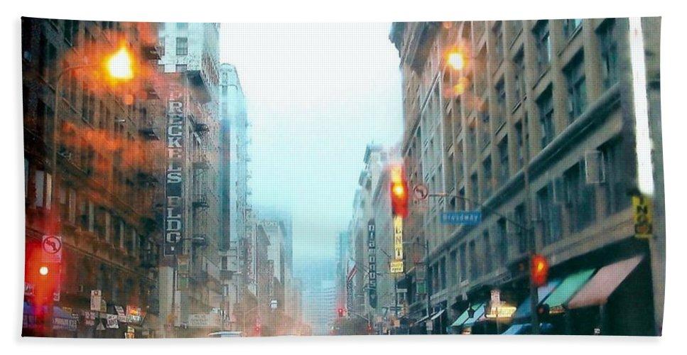 Rain Bath Sheet featuring the photograph City Rain by Kym Williams-Ali