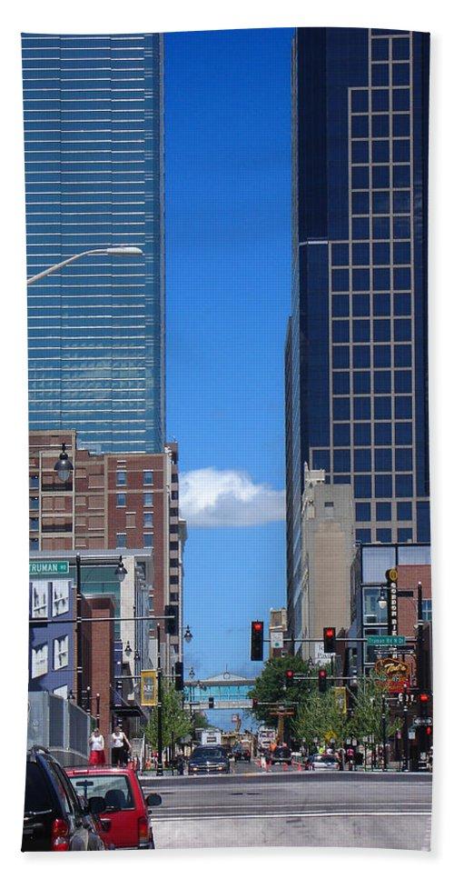 Kansas City Hand Towel featuring the photograph City Street Canyon by Steve Karol