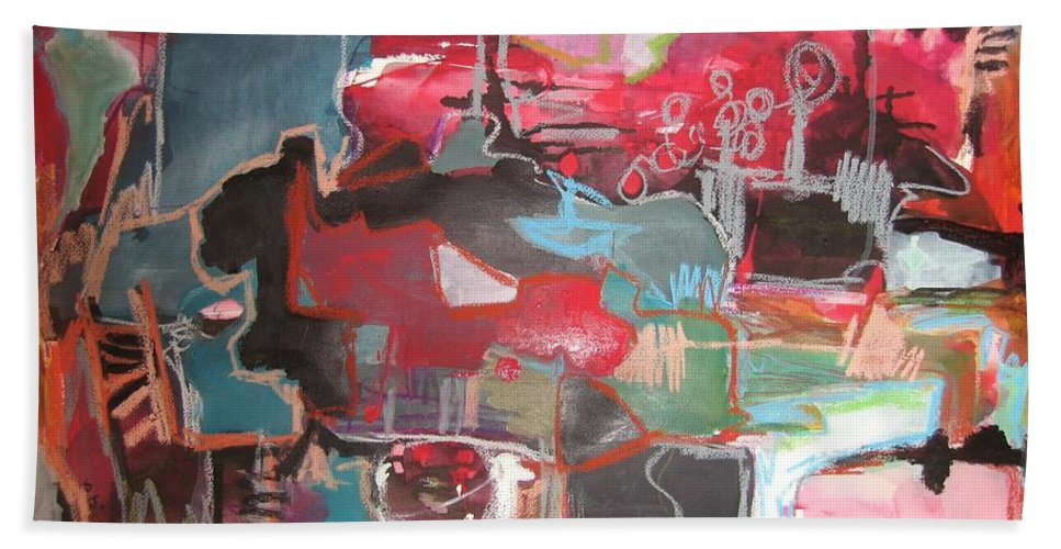 Abstract Paintings Bath Towel featuring the painting Citysacpe At Twilight Original Abstract Colorful Landscape Painting For Sale Red Blue by Seon-Jeong Kim
