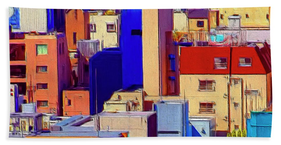 Cityscape Hand Towel featuring the painting Cityscape by Dominic Piperata