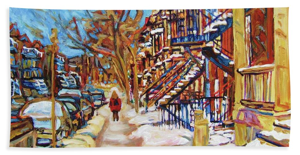 Montreal Hand Towel featuring the painting Cityscene In Winter by Carole Spandau