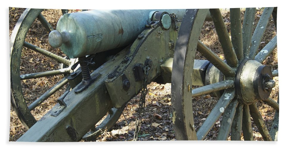 Kennesaw Mountain Hand Towel featuring the photograph Civil War Cannon by Michael Peychich