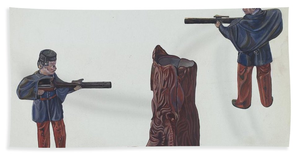 Hand Towel featuring the drawing Civil War Soldier & Tree Trunk Bank by William O. Fletcher
