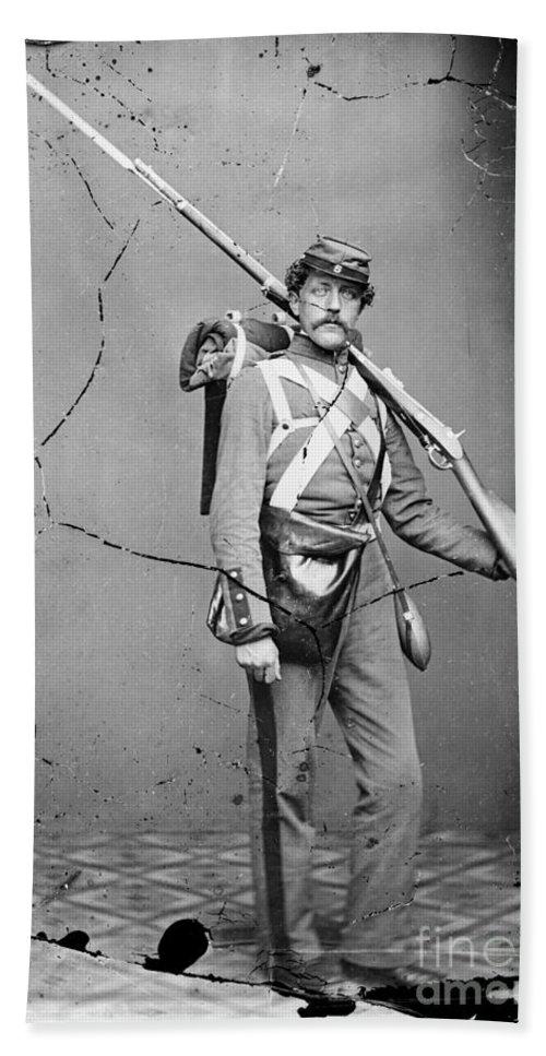 1862 Bath Sheet featuring the photograph Civil War: Union Soldier by Granger