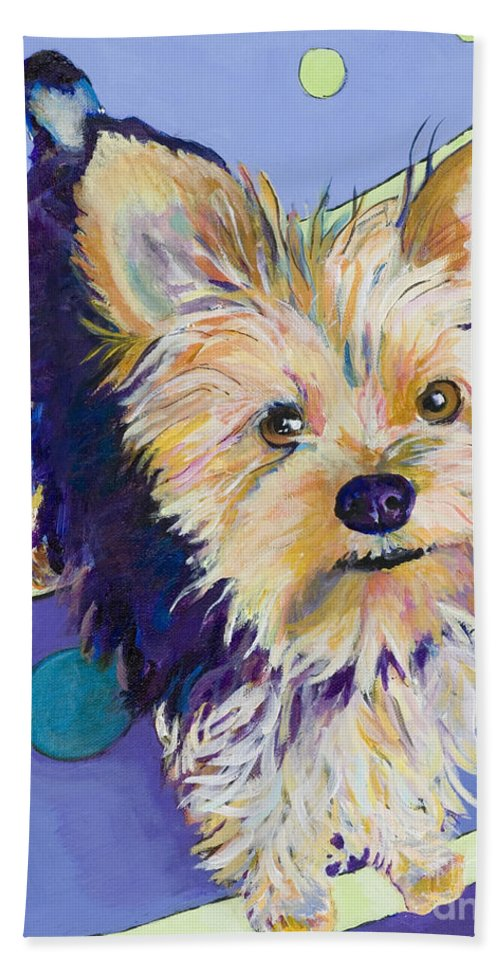 Pet Portraits Bath Towel featuring the painting Claire by Pat Saunders-White