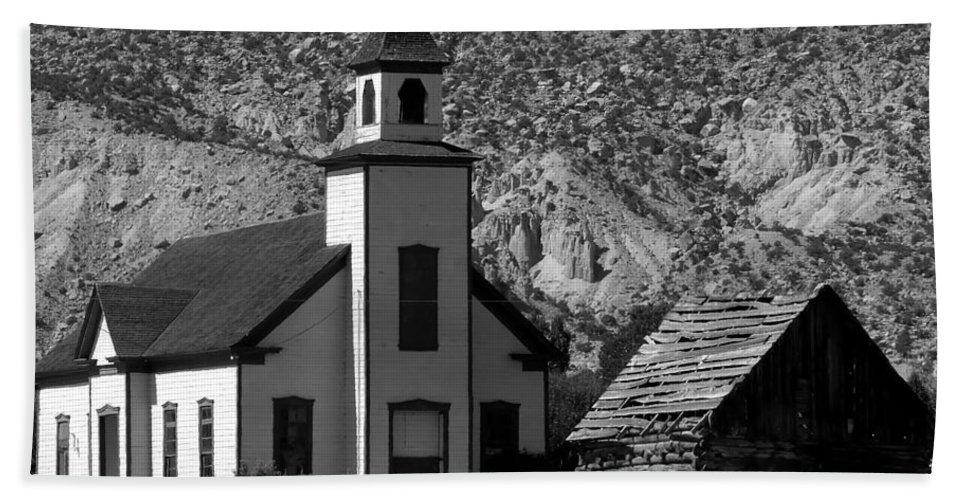 Mormon Bath Towel featuring the photograph Clapboard Church 1898 by David Lee Thompson