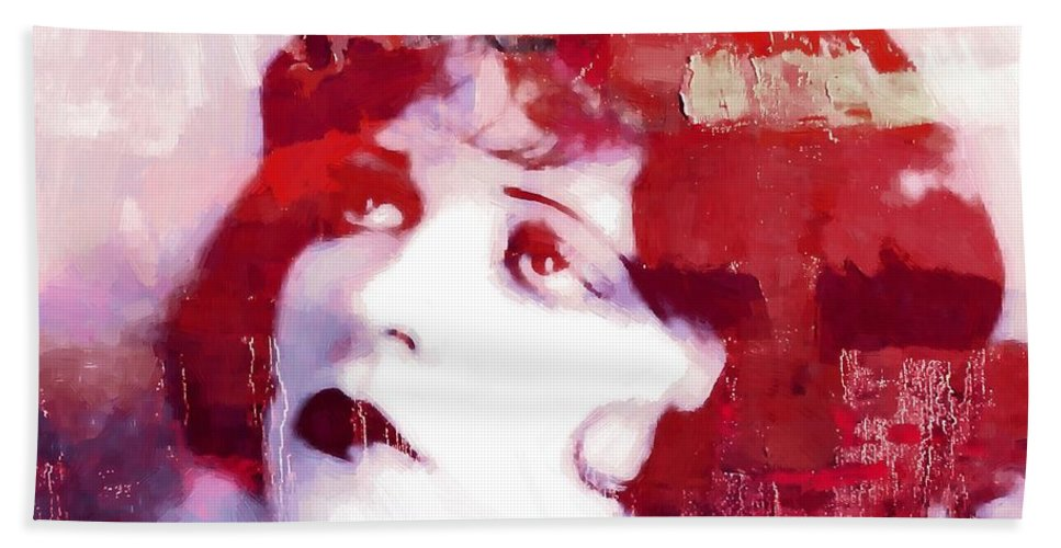 Clara Bow Actress Sex Symbol Twenties Vintage Silent Film Movie Female Woman Girl Beauty Star Famous Era Roaring American Painting Expressionism Impressionism Erotic Sexy Hand Towel featuring the painting Clara Bow by Steve K