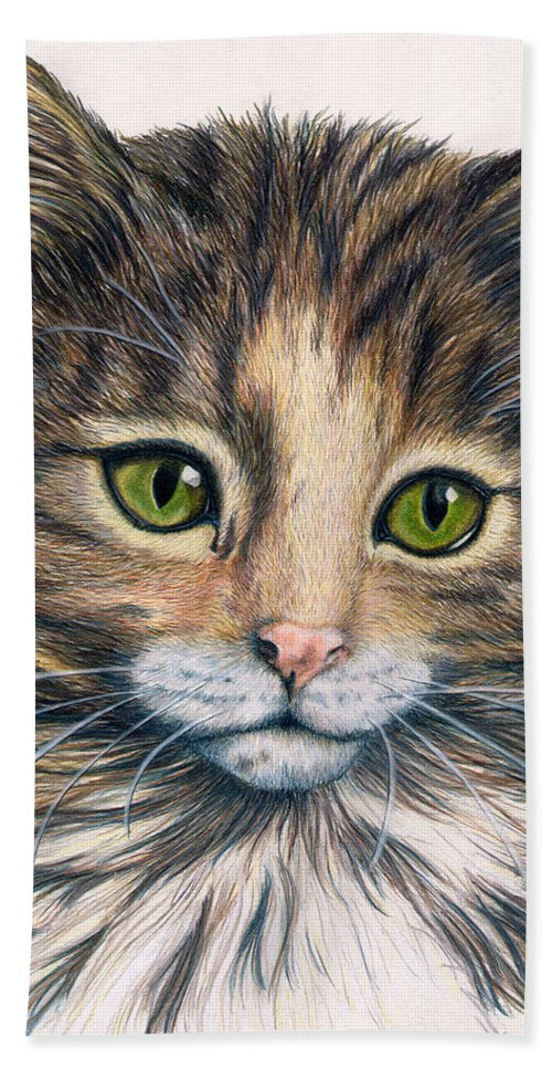 Cat Bath Sheet featuring the drawing Clarice by Kristen Wesch