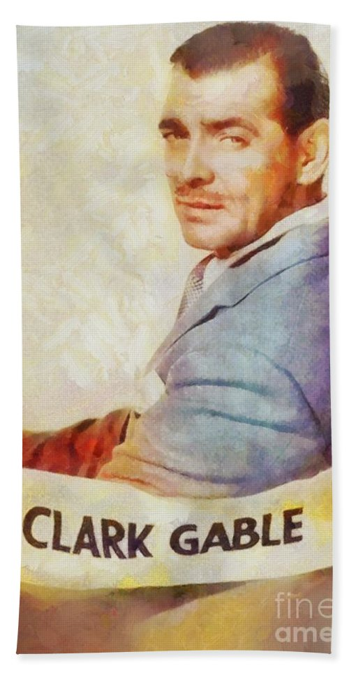 Hollywood Bath Sheet featuring the painting Clark Gable, Actor by Sarah Kirk