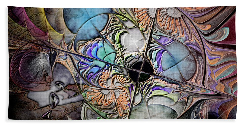 Abstract Bath Sheet featuring the digital art Clash Of The Earthly Elements by Casey Kotas