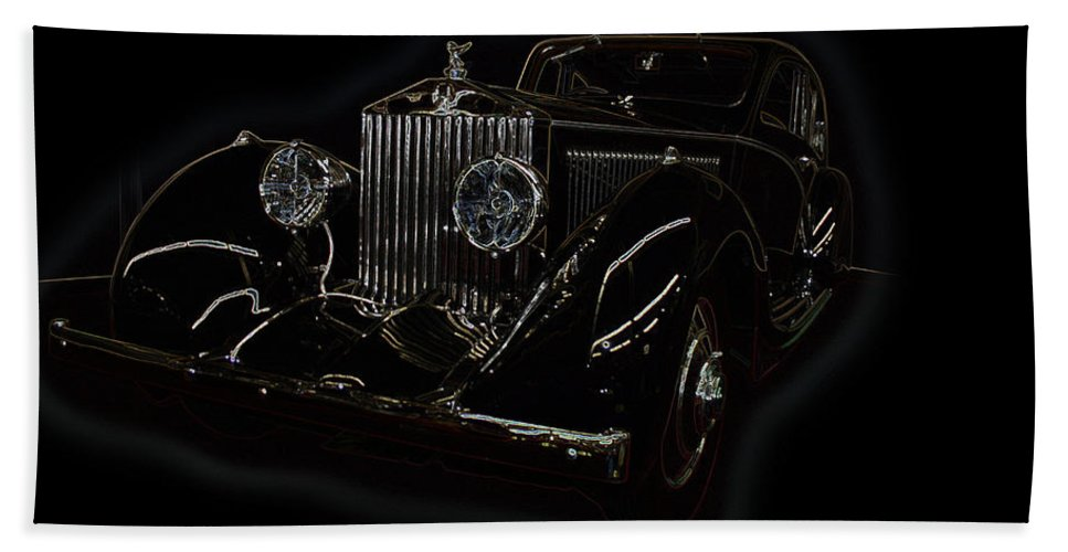 Classic Car Antique Show Room Vehicle Glowing Edge Black Light Chevy Dodge Ford Ride Bath Sheet featuring the photograph Classic 3 by Andrea Lawrence
