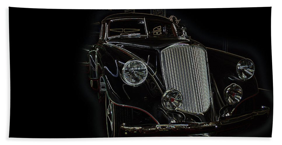 Classic Car Antique Show Room Vehicle Glowing Edge Black Light Chevy Dodge Ford Ride Bath Sheet featuring the photograph Classic 4 by Andrea Lawrence