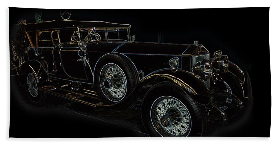 Classic Car Antique Show Room Vehicle Glowing Edge Black Light Chevy Dodge Ford Ride Bath Sheet featuring the photograph Classic 5 by Andrea Lawrence