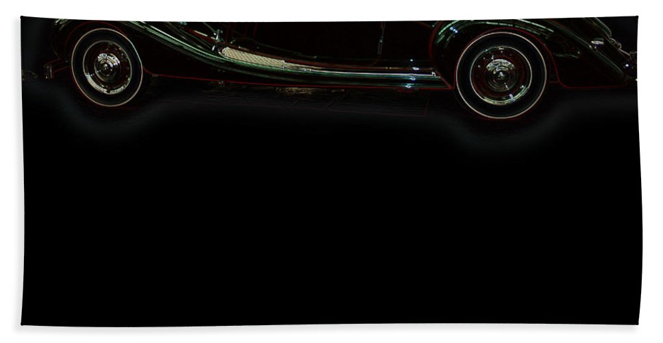 Classic Car Antique Show Room Vehicle Glowing Edge Black Light Chevy Dodge Ford Ride Hand Towel featuring the photograph Classic 6 by Andrea Lawrence