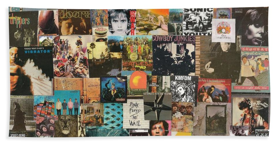 Collage Bath Towel featuring the digital art Classic Rock Lp Collage 1 by Doug Siegel