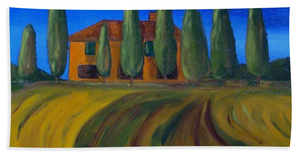 Tuscany Hand Towel featuring the painting Classic Tuscan Sunset by Laurie Morgan