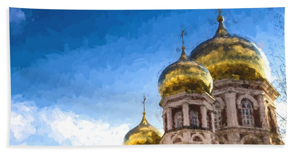 Intercession Cathedral Bath Sheet featuring the photograph Intercession Cathedral In Saratov Russia by John Williams
