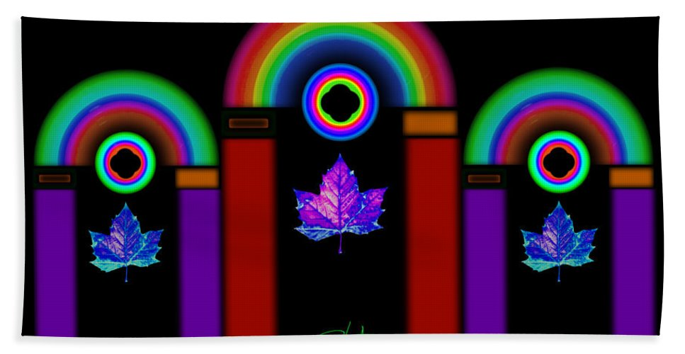 Classical Bath Towel featuring the painting Classical Neon by Charles Stuart