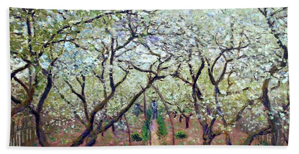 Claude Monet Orchard In Bloom Bath Sheet featuring the painting Claude Monet Orchard In Bloom by MotionAge Designs