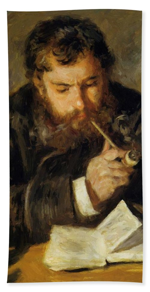 Claude Hand Towel featuring the painting Claude Monet The Reader 1874 by Renoir PierreAuguste