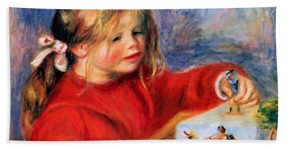 Claude Hand Towel featuring the painting Claude Renoir At Play Sun 1905 by Renoir PierreAuguste