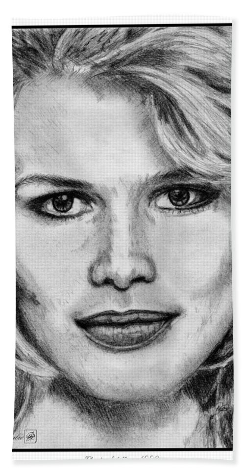 Claudia Schiffer Bath Sheet featuring the drawing Claudia Schiffer In 1992 by J McCombie