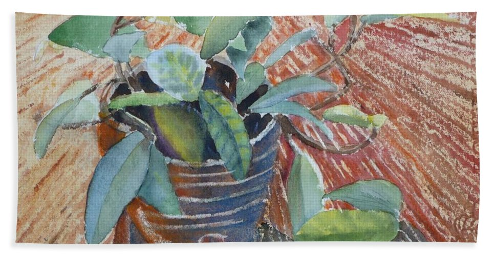 Vine Bath Towel featuring the painting Clay Pot by Ruth Kamenev